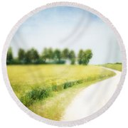 On The Way Through The Summer Round Beach Towel