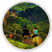 On The Way To Bran Castle Round Beach Towel