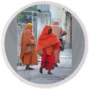 On The Way To Morning Prayers - India Round Beach Towel
