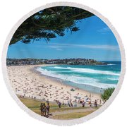 On The Way To The Beach. Round Beach Towel