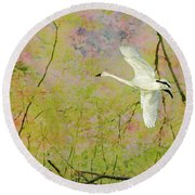 On The Wing Round Beach Towel by Belinda Greb