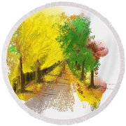 On The Yellow Road Round Beach Towel