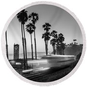 On Time Black And White Round Beach Towel