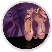On Pointe - Mirror Image By Marilyn Nolan-johnson Round Beach Towel