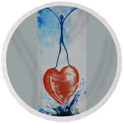 On Top Of The World Round Beach Towel
