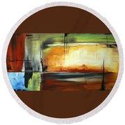On Track Original Madart Painting Round Beach Towel