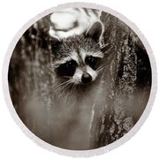 On Watch - Sepia Round Beach Towel