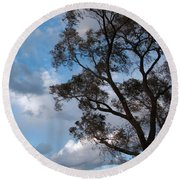 On Winds Of Evening Round Beach Towel