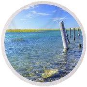 Once Upon A Pier Round Beach Towel