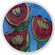 Once Upon A Yoga Mat Poppies 2 Round Beach Towel