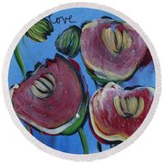 Once Upon A Yoga Mat Poppies 3 Round Beach Towel