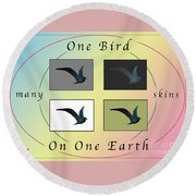 One Bird Poster And Greeting Card V1 Round Beach Towel