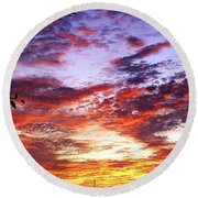 One Dawn Autumn Sky Round Beach Towel