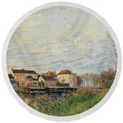 One Evening At Moret End Of October Round Beach Towel