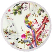 One Hundred Birds With A Phoenix, Canton, Republic Period Round Beach Towel