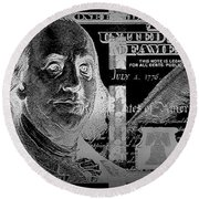 One Hundred Us Dollar Bill - $100 Usd In Silver On Black Round Beach Towel