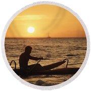 One Man Canoe Round Beach Towel
