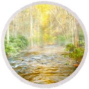 One Misty Morning Round Beach Towel
