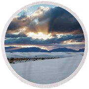 One More Moment - Sunburst Over White Sands New Mexico Round Beach Towel