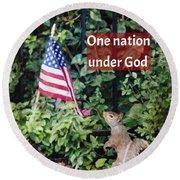 One Nation Under God Round Beach Towel