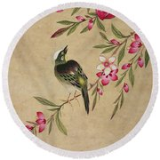 One Of A Series Of Paintings Of Birds And Fruit, Late 19th Century Round Beach Towel