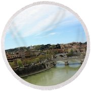 One Of Rome's Bridge Round Beach Towel