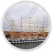 One Of Star Clipper's Masted Cruise Liners Docked In Venice Italy Round Beach Towel