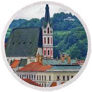 One Of The Churches In Cesky Kumlov In The Czech Republic Round Beach Towel