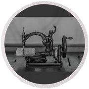 One Of The First Sewing Machines Round Beach Towel