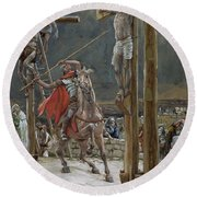 One Of The Soldiers With A Spear Pierced His Side Round Beach Towel by Tissot