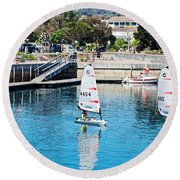 One-person Sailboats By The Commercial Pier In Monterey-california Round Beach Towel