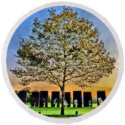 One Positive Eight Negatives Round Beach Towel