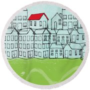 One Red Roof Round Beach Towel