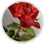 One Single Red Rose Round Beach Towel
