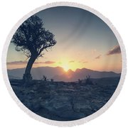 One Tree And Sunset Round Beach Towel
