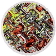 One Version Yellow And Red Abstract Round Beach Towel