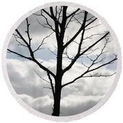 One Winter Tree With Clouds Round Beach Towel