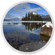 One Winters Morning Round Beach Towel
