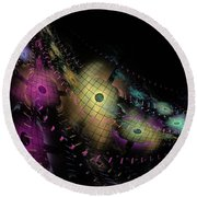 One World No.6 - Fractal Art Round Beach Towel