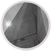 One World Trade Center New York Ny Sunset Black And White Round Beach Towel