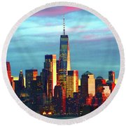 One World Trade Sunset Spectacle Round Beach Towel