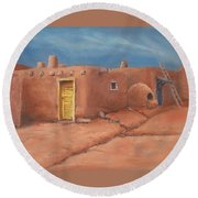 One Yellow Door Round Beach Towel