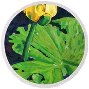 One Yellow Lily Round Beach Towel