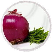 Onion And Chives Round Beach Towel