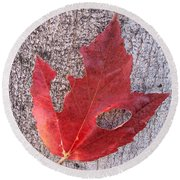 Only One Leaf To Live Round Beach Towel