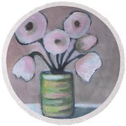 Only White Flowers Round Beach Towel