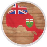 Ontario Rustic Map On Wood Round Beach Towel