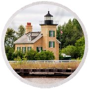 Ontonagon Lighthouse Round Beach Towel