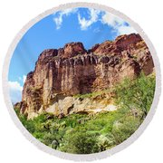 Onward And Upward At The Superstition Mountains Of Arizona Round Beach Towel
