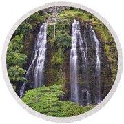 Opaekaa Falls - Kauai Round Beach Towel